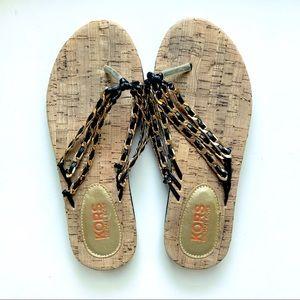 Michael Kors Gold/Black Chain Flip Flops Size 7
